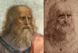 Plato depicted in the image of Leonardo by Raphael in the School of Athen Painting 1509